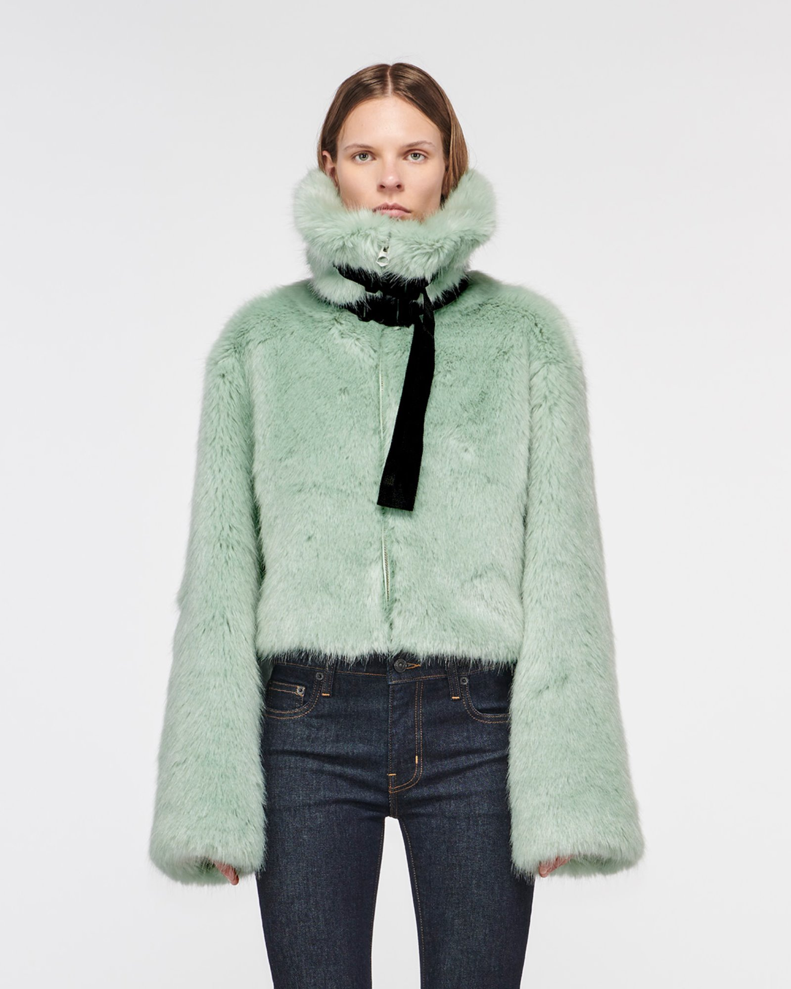 """MARMONT"" FAUX FUR JACKET CYPRUS GREEN"